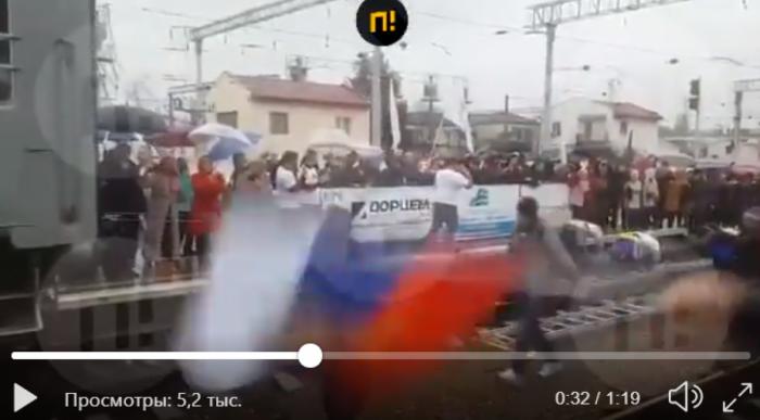 Первый поезд из Москвы в Крым: оккупанты показали, что произошло на вокзале, — видео